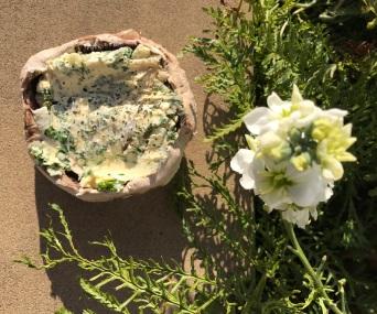 Herby garlic mushroom uncooked